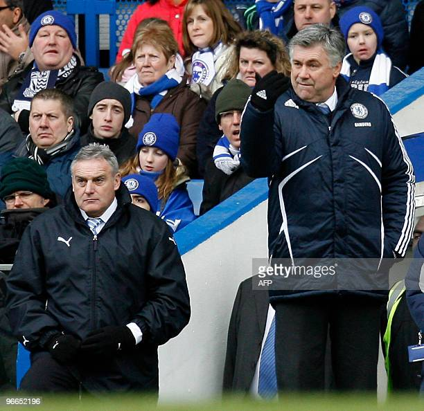 Chelsea's Italian Manager Carlo Ancelotti and Cardiff City's English manager Dave Jones during the FA Cup fifth round football match between Chelsea...