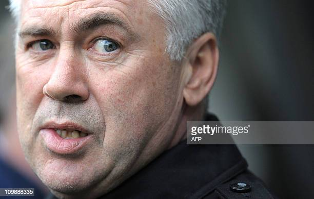 Chelsea's Italian manager Carlo Ancelotti looks on before the English Premier League football match against Newcastle United at St James' Park...