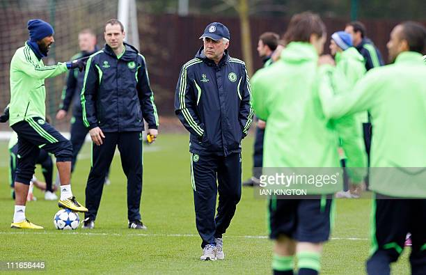 Chelsea's Italian Manager Carlo Ancelotti supervises a team training session in Cobham southern England on April 5 2011 Chelsea are set to play...
