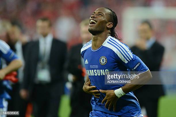 Chelsea's Ivorian forward Didier Drogba celebrates after scoring a goal during the UEFA Champions League final football match between FC Bayern...