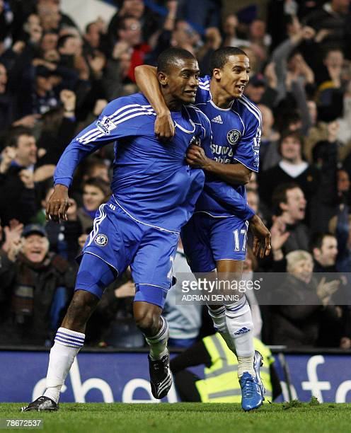 Chelsea's Ivorian player Salomon Kalou celebrates after scoring the winning goal with Scott Sinclair against Newcastle during the Premiership...