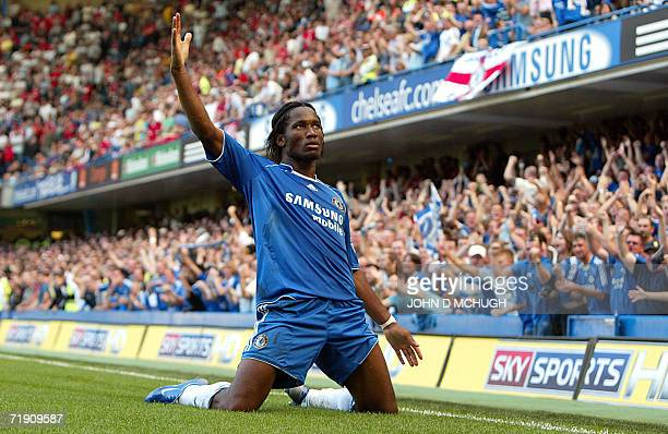 Chelsea's Ivorian striker Didier Drogba celebrates after scoring against Liverpool during their Premeirship game at Stamford Bridge London 17...