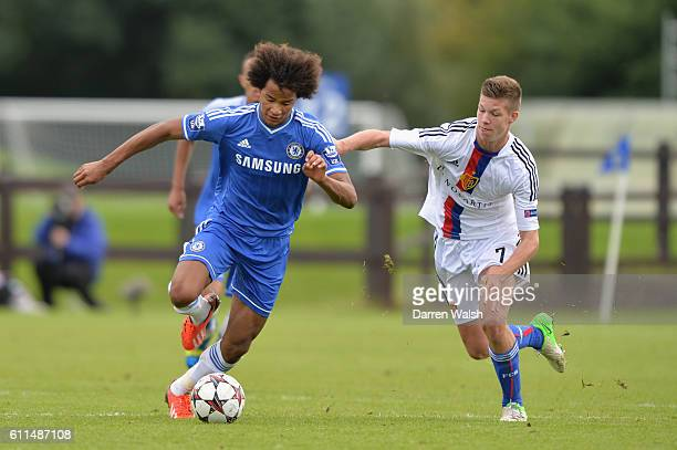 Chelsea's Izzy Brown and FC Basel's Cedric Jan Itten during a U19 UEFA Youth League match between Chelsea U19's v FC Basel U19's at the Cobham...
