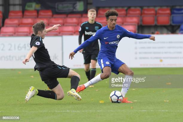 Chelsea's Jacob Maddox during the Premier League 2 match between Chelsea FC and West Ham Utd at Aldershot on October 22 2017 in London United Kingdom