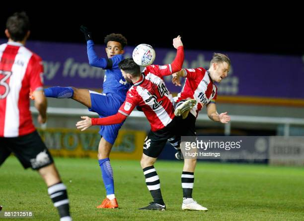 Chelsea's Jacob Maddox in action during the Checkatrade Trophy match between Exeter City and Chelsea U21 at St James' Park on November 28 2017 in...