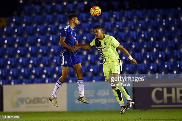 Chelsea's Jake ClarkeSalter and Huddersfield Town's Rekiel Pyke during a 3rd Rd FA Youth Cup match between Chelsea U18 and Huddersfield Town U18 at...