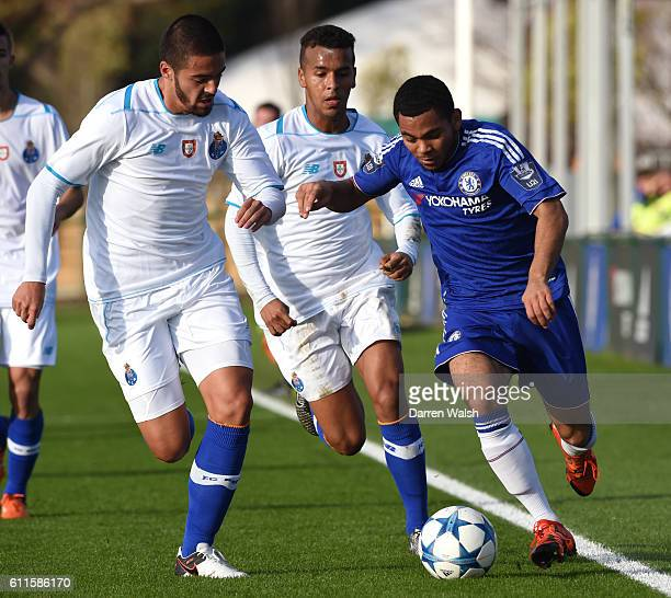 Chelsea's Jay DaSilva and FC Porto's Diego Sousa battle for the ball