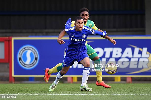 Chelsea's Jay Dasilva and Norwich City's Reece HallJohnson during a Premier League International Cup match between Chelsea Under 21 and Norwich City...