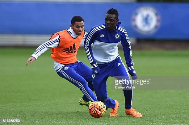 Chelsea's Jay Dasilva Bertrand Traore during a training session at the Cobham Training Ground on 30th December 2015 in Cobham England