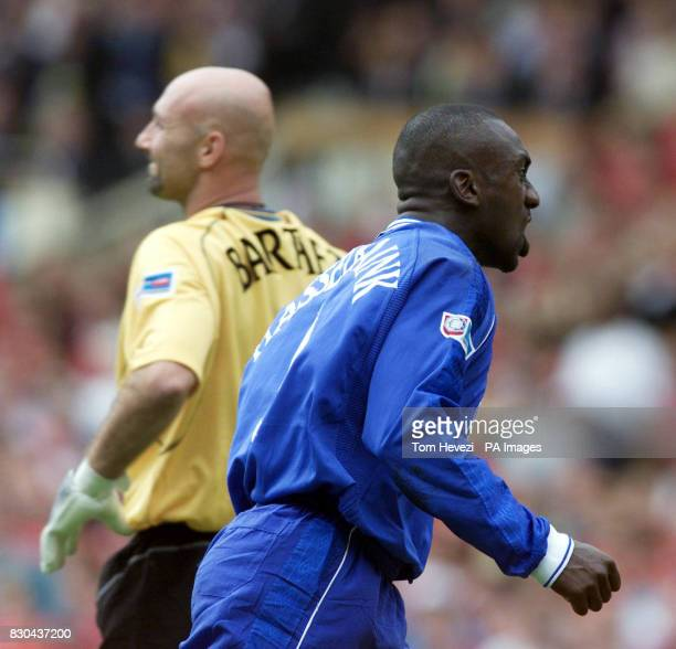 Chelsea's Jimmy Floyd Hasselbaink celebrates after scoring the opening goal for his team during the FA Charity Shield at Wembley Stadium