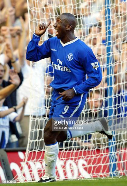Chelsea's Jimmy Floyd Hasselbank celebrate his goal at Chelsea football club in London 13 September 2003 Barclaycard premiership Chelsea plays...