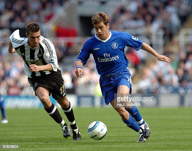 Chelsea's Joe Cole is chased by Newcastle's Darren Ambrose during their Premiership match at St James' Park in Newcastle 15 May 2005 Chelsea drew 11...