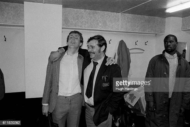 Chelsea's Joey Jones with the Chelsea Team Bus Driver in the Chelsea changing room after the game