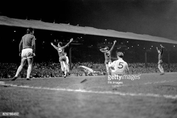 Chelsea's John Dempsey Peter Osgood and Peter Houseman celebrate the winning goal as Leeds United's David Harvey Allan Clarke and Jack Charlton look...