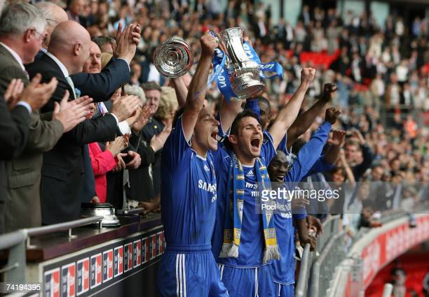 Chelsea's John Terry and Frank Lampard lift the FA Cup after the FA Cup Final match sponsored by EON between Manchester United and Chelsea at Wembley...
