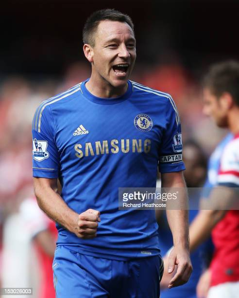 Chelsea's John Terry celebrates after Chelsea defeats Arsenal at the Barclays Premier League match between Arsenal and Chelsea at Emirates Stadium on...