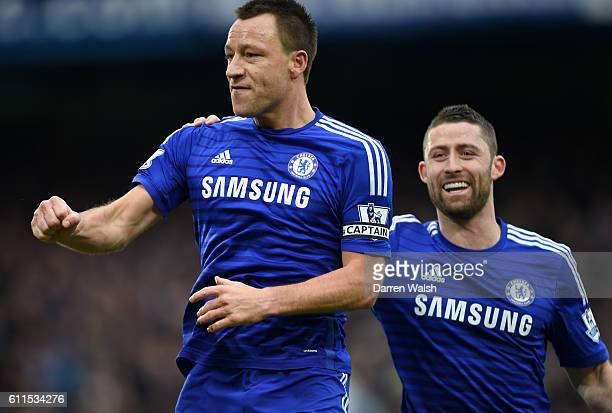 Chelsea's John Terry celebrates scoring his sides first goal of the match.