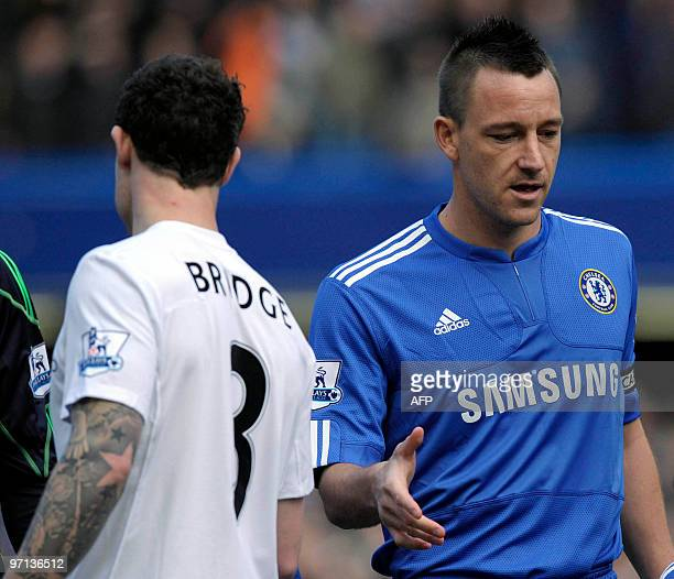 Chelsea's John Terry fails to get a hand shake from Manchester City's Wayne Bridge during their Barclays Premier League football match at Stamford...