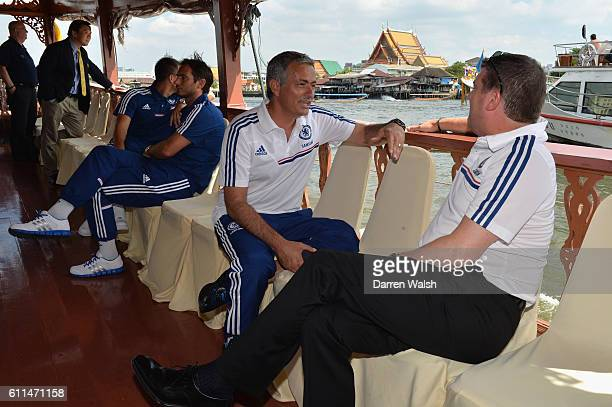 Chelsea's John Terry, Frank Lampard, Jose Mourinho and Ron Gourlay on the boat back to the team hotel after a visit to the King of Thailand at the...