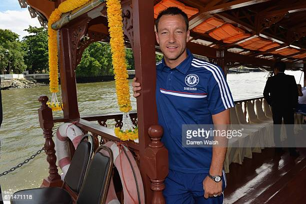 Chelsea's John Terry on the boat back to the team hotel after a visit to the King of Thailand at the Siriraj Hospital.