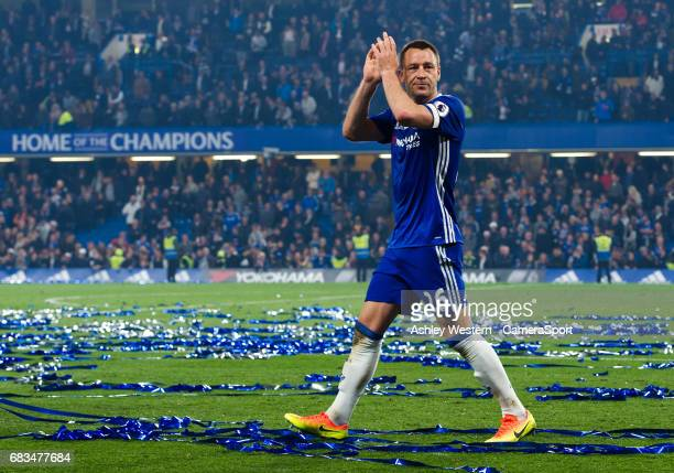 Chelsea's John Terry salutes the fans after the 43 Premier League victory over Watford at Stamford Bridge on May 15 2017 in London England