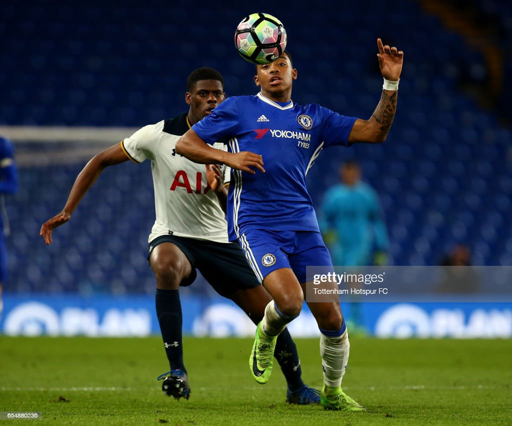 Chelsea's Jonathan Dinzeyi keeps his eye on the ball during the FA Youth Cup Semi Final Second Leg between Chelsea and Tottenham Hotspur at Stamford Bridge on March 18, 2017 in London, England.