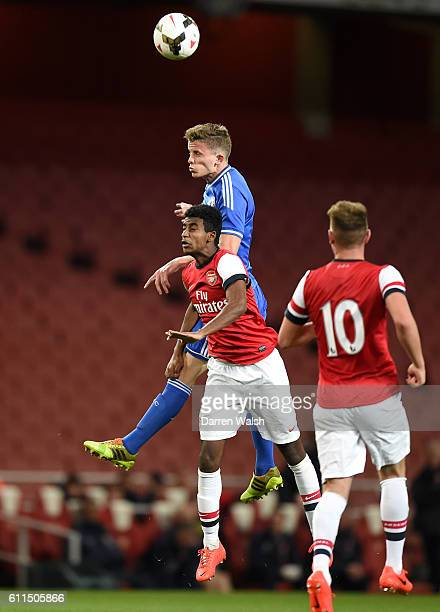 Chelsea's Jordan Houghton and Arsenal's Gedion Zelalem battle for the ball in the air