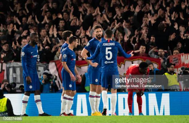 Chelsea's Jorginho and Olivier Giroud after their side is awarded a corner during the UEFA Champions League round of 16 first leg match between...