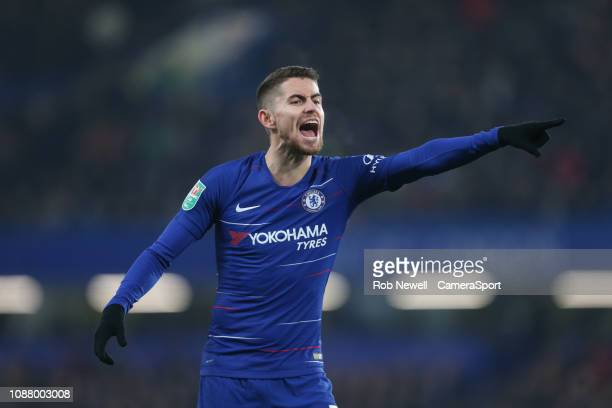 Chelsea's Jorginho during the Carabao Cup SemiFinal Second Leg match between Chelsea and Tottenham Hotspur at Stamford Bridge on January 24 2019 in...