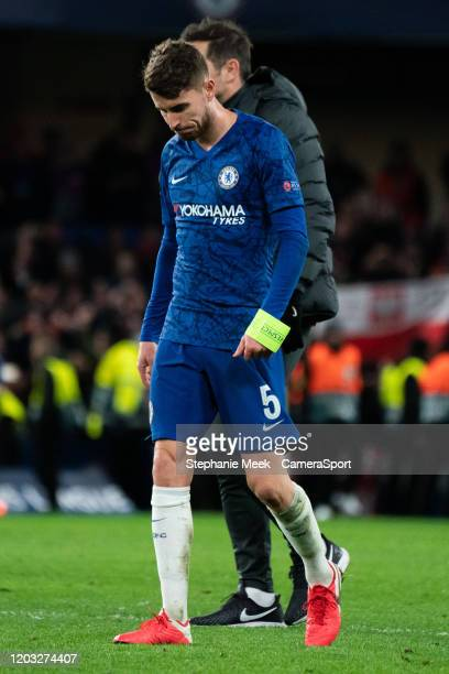 Chelsea's Jorginho reacts after his sides 3-0 loss to Bayern Munich's during the UEFA Champions League round of 16 first leg match between Chelsea FC...