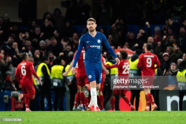 Chelsea's Jorginho reacts to Bayern Munich's opening goal during the UEFA Champions League round of 16 first leg match between Chelsea FC and FC...