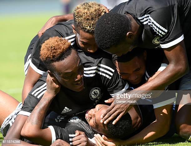 Chelsea's Josimar Quintero celebrates scoring their second goal of the game with teammates