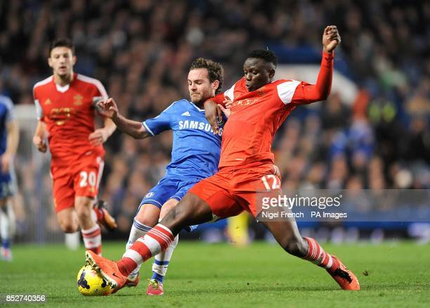 Chelsea's Juan Mata and Southampton's Victor Wanyama battle for the ball