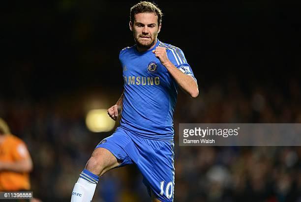 Chelsea's Juan Mata celebrates scoring his side's third goal