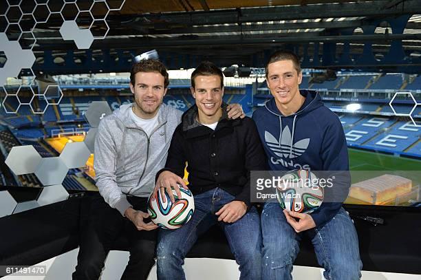 Chelsea's Juan Mata, Cesar Azpilicueta and Fernando Torres during a Q and A session