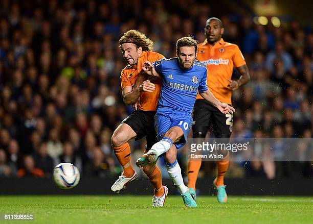 Chelsea's Juan Mata scores his side's third goal