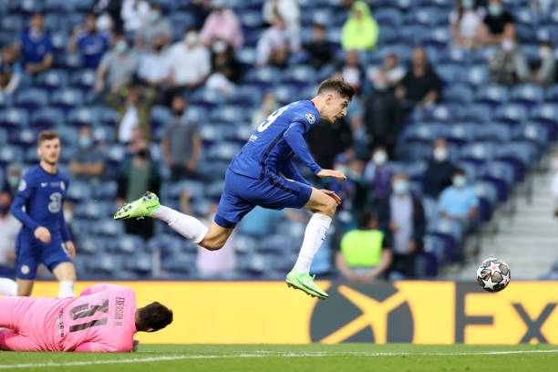 Chelsea's Kai Havertz scores a goal during the UEFA Champions League final match between Manchester City and Chelsea at Dragao Stadium on May 29,...