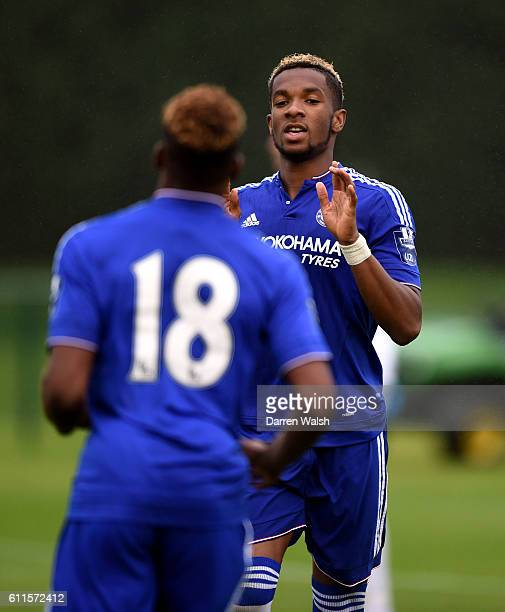 Chelsea's Kasey Palmer celebrates his second goal making it 20