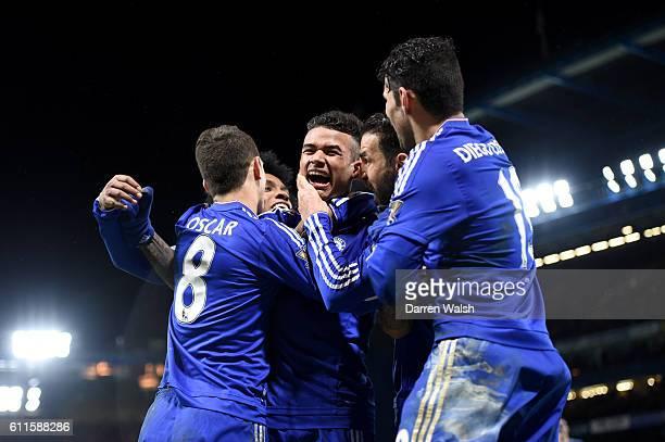 Chelsea's Kenedy celebrates scoring their second goal with teammates