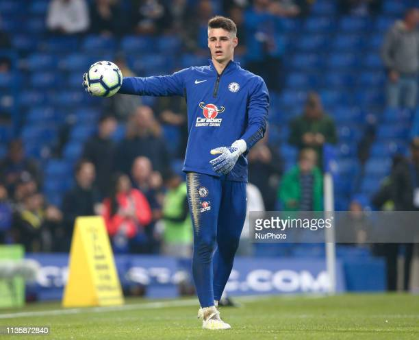Chelsea's Kepa Arrizabalaga during the prematch warmup during English Premier League between Chelsea and West Ham United at Stamford Bridge stadium...
