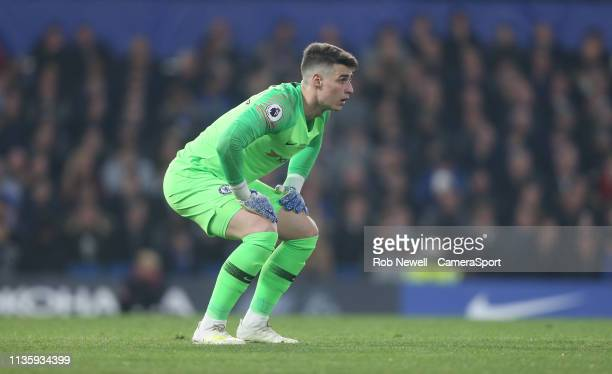 Chelsea's Kepa Arrizabalaga during the Premier League match between Chelsea FC and West Ham United at Stamford Bridge on April 8 2019 in London...