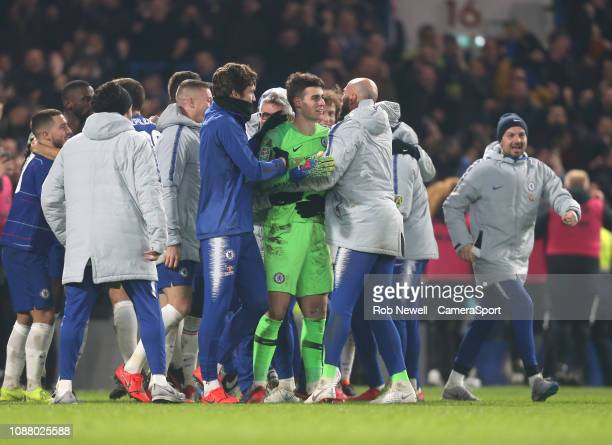 Chelsea's Kepa Arrizabalaga leads the celebrations at the end of the game during the Carabao Cup SemiFinal Second Leg match between Chelsea and...