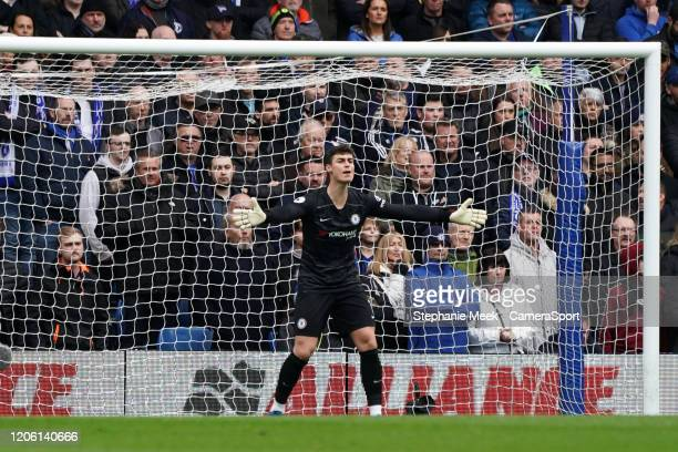 Chelsea's Kepa Arrizabalaga shouts instructions to hit teammates during the Premier League match between Chelsea FC and Everton FC at Stamford Bridge...