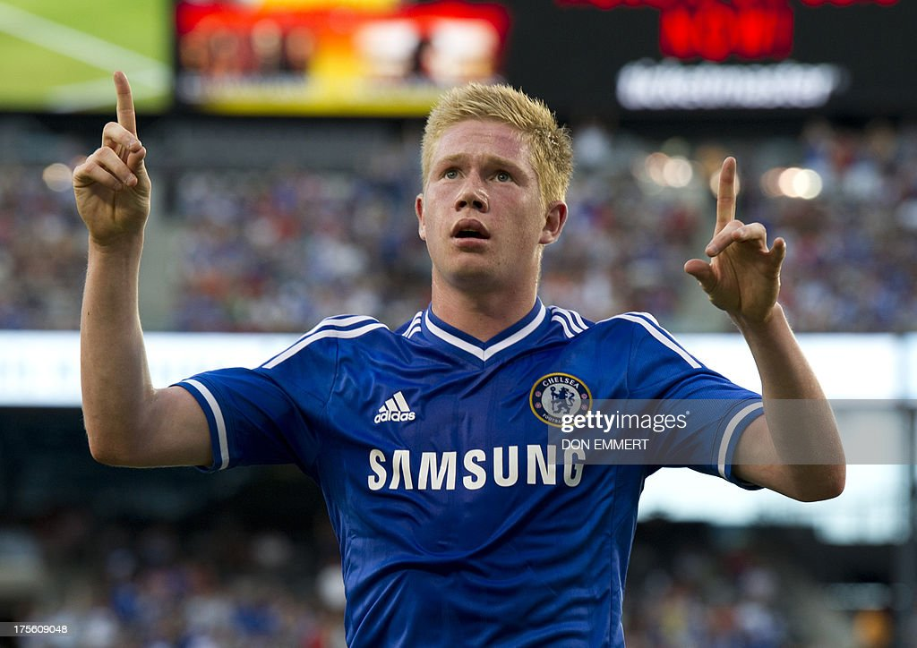 Chelsea's Kevin De Bruyne celebrates his goal against AC Milan during a 2013 International Champions Cup match on August 4 , 2013 at the MetLife stadium in East Rutherford, New Jersey. Chelsea won 2-0. AFP PHOTO/Don Emmert