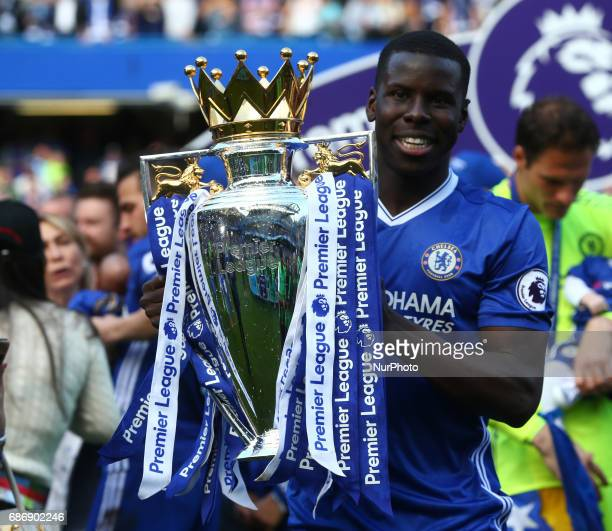 Chelsea's Kurt Zouma with Premier League Trophy during the Premier League match between Chelsea and Sunderland at Stamford Bridge London England on...
