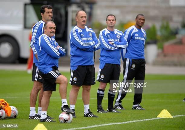 Chelsea's Luiz Felipe Scolari with his backroom staff of Flavio Murtosa Darlan Schneider Steve Clarke and Michael Emenalo during Chelsea FC Training...
