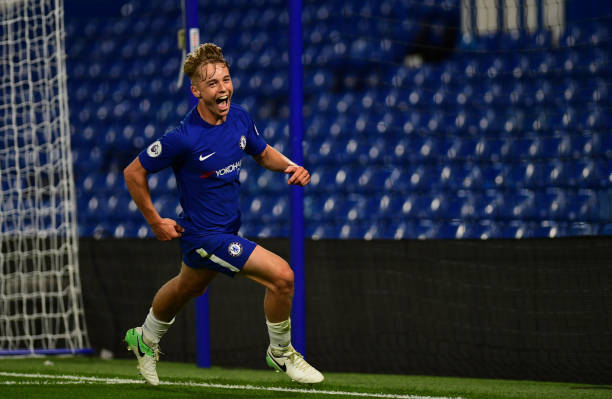 Chelsea's Luke McCormick's scores and celebrates his Goal during the Chelsea v Derby County Premier League 2 Match at Stamford Bridge on August 18,...