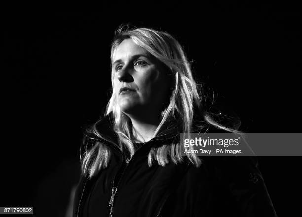 Chelsea's Manager Emma Hayes before the game of the UEFA Women's Champions League Last 16 First Leg match at the Cherry Red Records Stadium London
