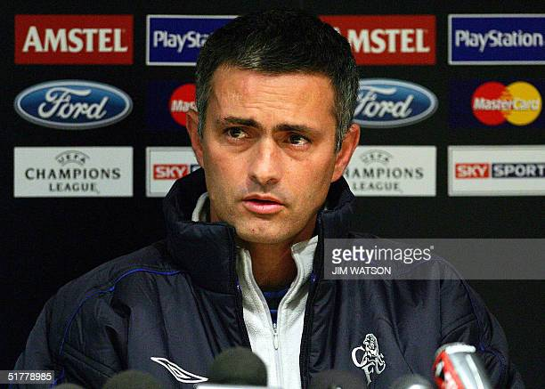 Chelsea's manager Jose Mourinho gives a press conference 23 November 2004 at Stamford Bridge in London on the eve of the Champions league football...