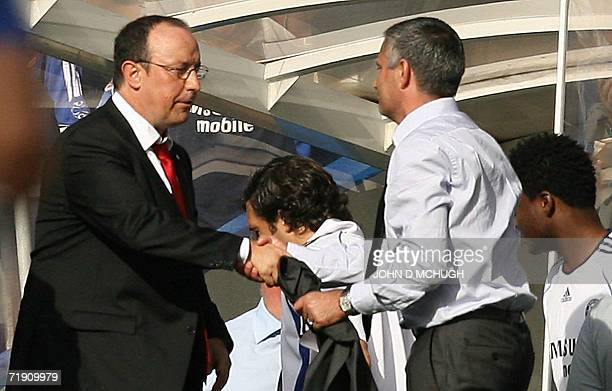 Chelsea's manager Jose Mourinho shakes hands with Rafael Benitez manager of Liverpool after their Premeirship game at Stamford Bridge London 17...